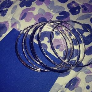 😊 5 for $25😊6-pc Silver Bangle Bracelets